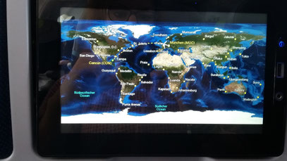 Flight route from Munich to Cancun
