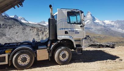 Lastwagen Schweizer Berge Wallis Matterhorn