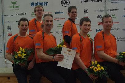 v.l. Dieter Dehnert, Henning Huckfeldt, Burkhard Gauding, Markus Linge, Dominik Rennert u. Ingo Josephs beim Finale in Braunschweig am 16.03.2013