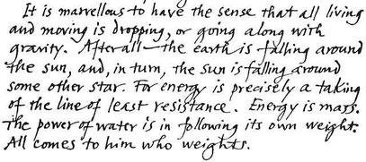 FAKSIMILE: Kalligrafisches Zitat (c) ALAN WATTS 1915-1973, aus: PRAKTISCHE ANLEITUNG ZUM MEDITIEREN, in: Leben ist jetzt (1983, Hrsg. Mark Watts)