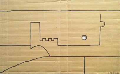 """""""A & A"""" (c) De Toys, 2.9.1999 (Edding auf Industriekarton, 61 x 38 cm, gelocht)"""