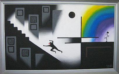 INFLATION DER SEELE (c) De Toys, 1988 (Dispersionsfarben+Quarzsand auf Hartfaserplatte)