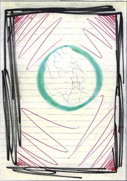 DAS LOCH (c) De Toys, 6./7.1.1992 (29,5x20,5cm, Mischtechnik auf Papier)
