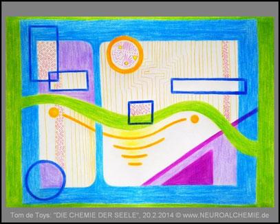 """""""DIE CHEMIE DER SEELE"""" (c) 20.2.2014 (DinA3 mit Holzstiften, digital gerahmt)"""