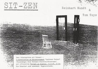 """Illegale Installation am Aachener Weiher: """"SIT-ZEN"""" (11.6.1995, Köln-Lindenthal)"""