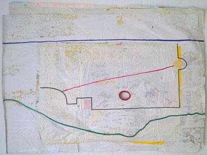 BERLINPANORAMA (c) De Toys, 8./9.7.1998 (85x62cm, Plakatabriss von Hauswand)