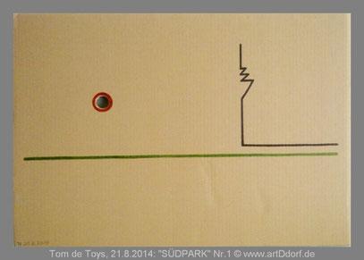 """De Toys, 21.8.2014: """"SÜDPARK"""" Nr.1, Edding auf unbehandeltem DinA2-Karton mit Loch"""