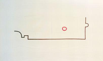 """Berlin-Panorama"" (c) De Toys, 19./20.11.1998: Edding auf Bettlaken (ca. 110cm x 180cm)"