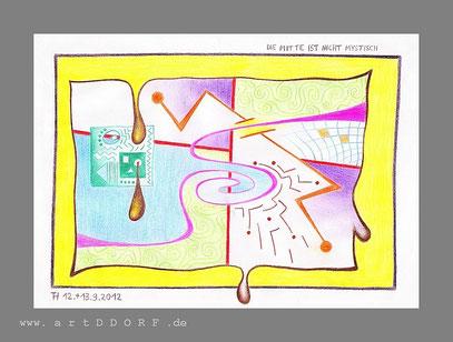 """""""DIE MITTE IST NICHT MYSTISCH (SONDERN MANIERISTISCH)"""" (c) De Toys, 12.+13.9.2012  (DinA4 mit Holzstiften, digital gerahmt)"""
