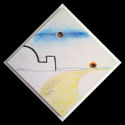 """Das Urbild der Berliner Motive: REICHSTAG 1 (c) De Toys, 19.5.1998 = Wachsmalkreide auf grundierter Leinwand 55 x 55 cm im Keilrahmen, doppelt gelocht, mit Textpassage aus """"LEGENDE"""" :"""