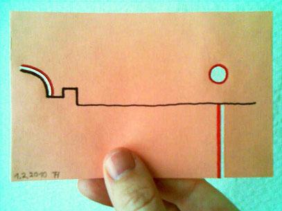 """""""REICHLICH SUNSET"""" (c) De Toys, 1.2.2010 (Löschpapier 9.5x14.8 cm, gelocht)"""