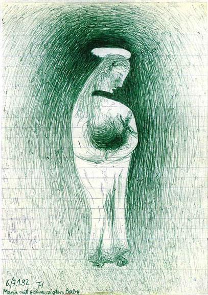 MARIA (c) De Toys, 6./7.1.1992 (29,5x20,5cm, Kuli auf Papier)