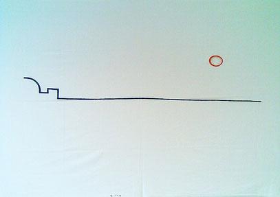 """""""REICHSTAG"""" (c) De Toys, 1.11.1998 (Edding auf Bettlaken 140 x 220 cm, gelocht)"""