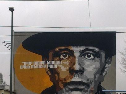 """Beuys: """"WER NICHT DENKEN WILL, FLIEGT RAUS!"""" (Erkrather Straße, Ddorf, 21.1.2014)"""