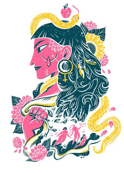 Eva und der Apfel, die Goldene Schlange der Erkenntnis, Feminismus, Schamanen, Shamanism and Feminismus