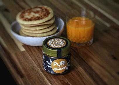 Miel de Kamahi avec pancake et jus d'orange Puri New Zealand