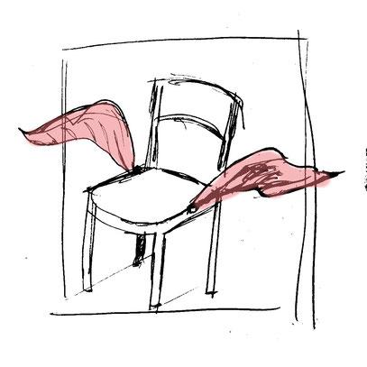 Fliegender Stuhl, fliegendes Mobiliar, Destruktion, Zerstörung, Wut