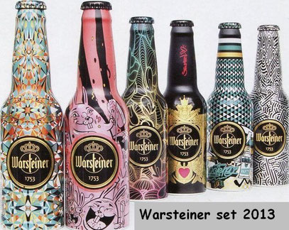6 different Alu-bottles with 5 different caps. History of this bottles: Buy 24 normal Warsteiner bottles and earn 1 Alu-bottle for free;-)