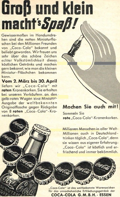 COCA-COLA Germany 1953: Collect 8 red Coke caps and change into one Coke mini-bottle.
