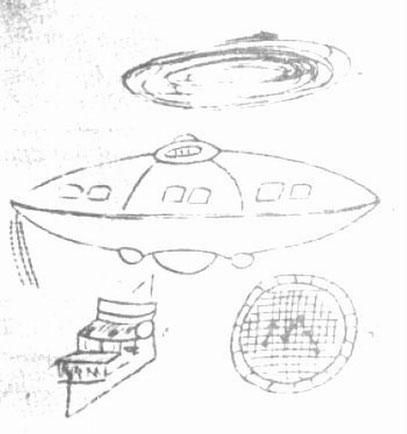 Zeichnungen von João de Freitas Guimarães die das UFO, ein »Steuerungsgerät« sowie ein »Bildschirm« im Innern der fliegenden Untertasse zeigen.
