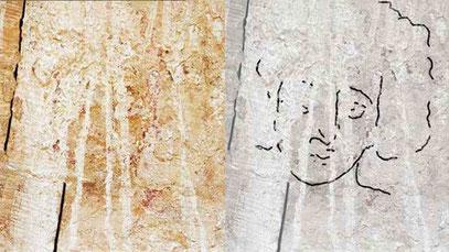 Rechts die nachgezeichneten Konturen des Jesus-Bildnisses.