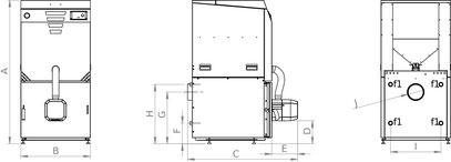 Abmessung von Pelletkessel RPC Kompakt