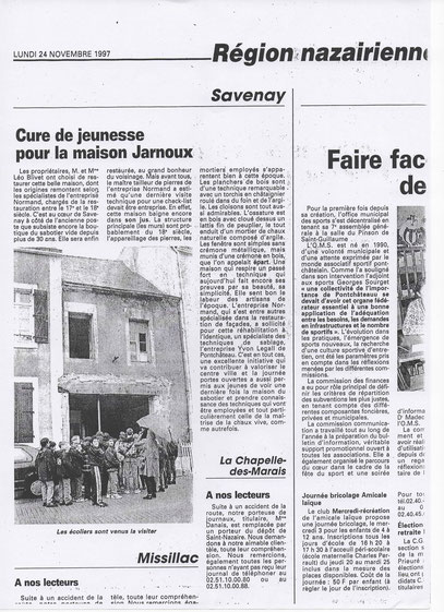 Commune de Savenay, la façade du Sabotier est restaurée.