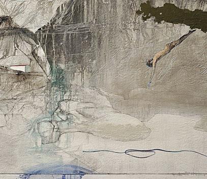 -羽曳野白景- Whitescape of Habikino  Japanese pigments and Gum 1620x1300mm