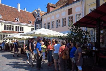 Die Rotel-Gruppe mit der estnischen Reiseleiterin am Rathausplatz