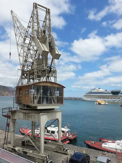 Hafen von Santa Cruz mit Kreuzfahrtschiff Aida Stella
