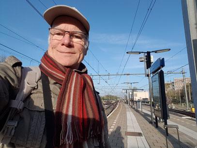 Selfie auf dem Bahnsteig in Heerlen