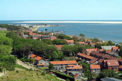 Blick vom Leuchtturm auf Oost-Vlieland und die Sandbank Richel