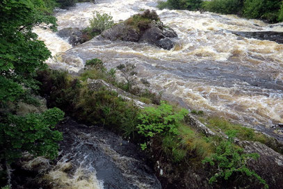 Sneem. River Owreagh bei Hochwasser