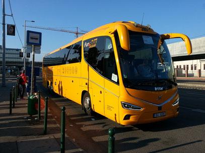 Abfahrt mit Fernbus REGIOJET um 09:15 Uhr von Budapest, Könyves Kálmán, k., Népliget, bus st. 901, nach Bratislava, Ankunft 12:00 Uhr