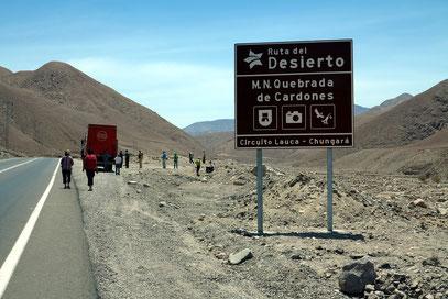 Stop an der Straße von Arica nach Putre