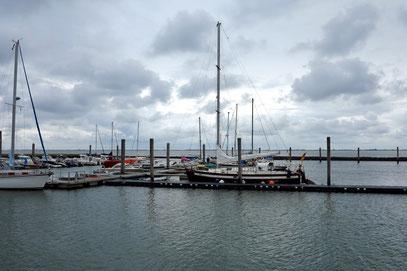Yachthafen Baltrum, der bei Niedrigwasser trockenfällt