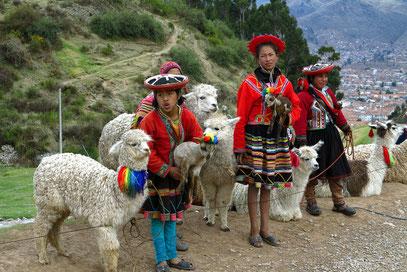 Quechua-Indias mit ihren Lamas nahe Tambo Machay