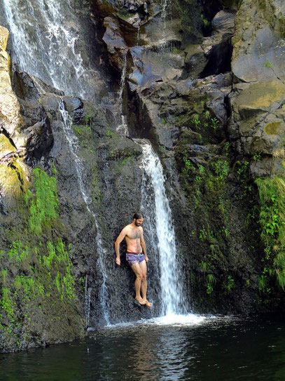 Wasserfall Poço do Bacalhau bei Fajã Grande