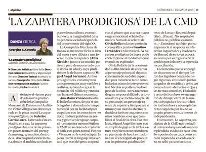 Critica de La Opinión de Murcia - La Zapatera Prodigiosa
