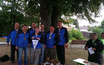 Bronze-Team von links nach rechts: Günter Hackenberg, Andreas Umbach, Marcus Fischer, Kai-Erik Fischer, Christian Hilgenberg, Sven Wassermann, Joachim Schmittdiel