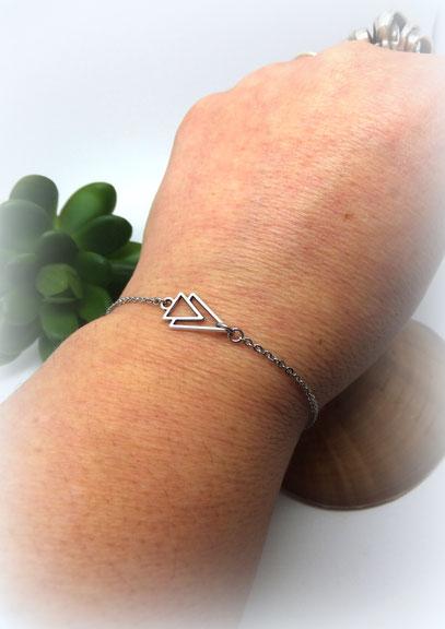 AXEL - Bracelet fin, minimaliste, bracelet bohème, bracelet argent graphique Manoléo Fantaisies