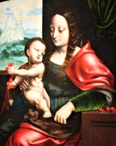 Joos van Cleve.La Virgen de las cerezas.Óleo sobre tabla.Colección privada,Bélgica.