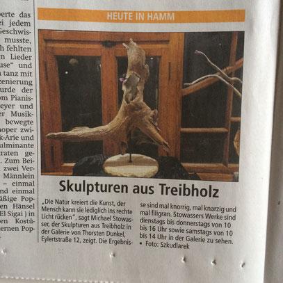 Zeitungsbericht Skulpturen aus Treibholz Westfälischer Anzeiger 2