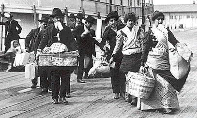 Immigrants arriving at Ellis Island from the barge