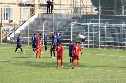 La difesa neroazzurra schierata in occasione di un corner