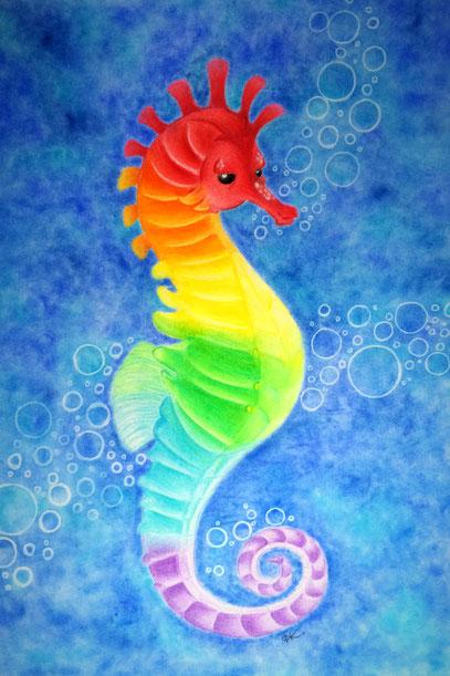 Seahorse seepferdchen polychromos buntstiftzeichnung