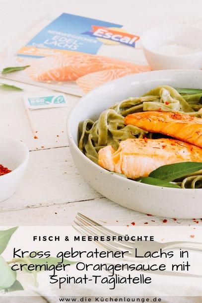 Kross gebratener Lachs in cremiger Orangensauce mit Spinat-Tagliatelle