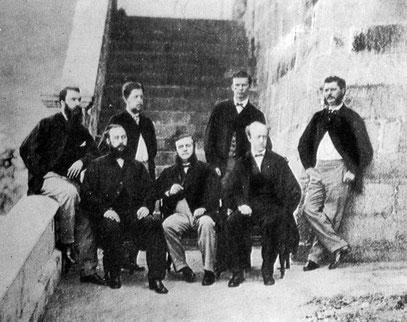 Staff européen de la banque à Hongkong en 1871.