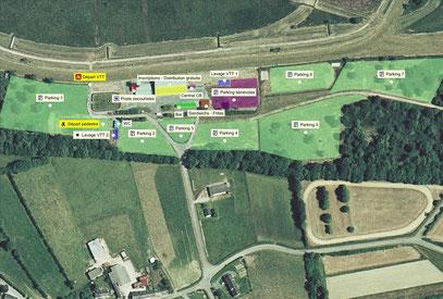 Vue aérienne de l'hipodromme de Mespras et des installations du raid VTT du chêne au Duc