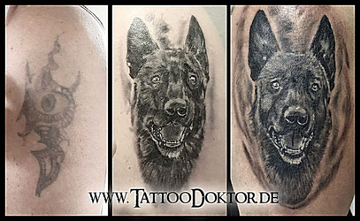 TattooRitual Cover Up Hund Portrait Rostock Lübeck Tattoo